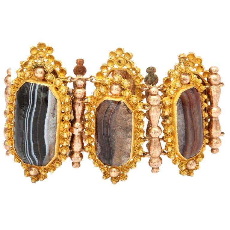 Georgian Wide  Banded Agate Pinchbeck Bracelet 1