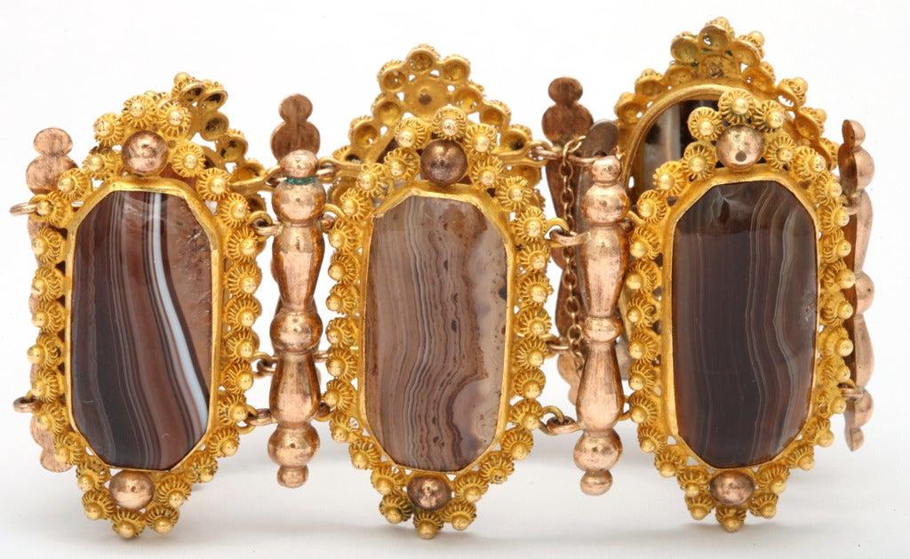 Georgian Wide  Banded Agate Pinchbeck Bracelet 3