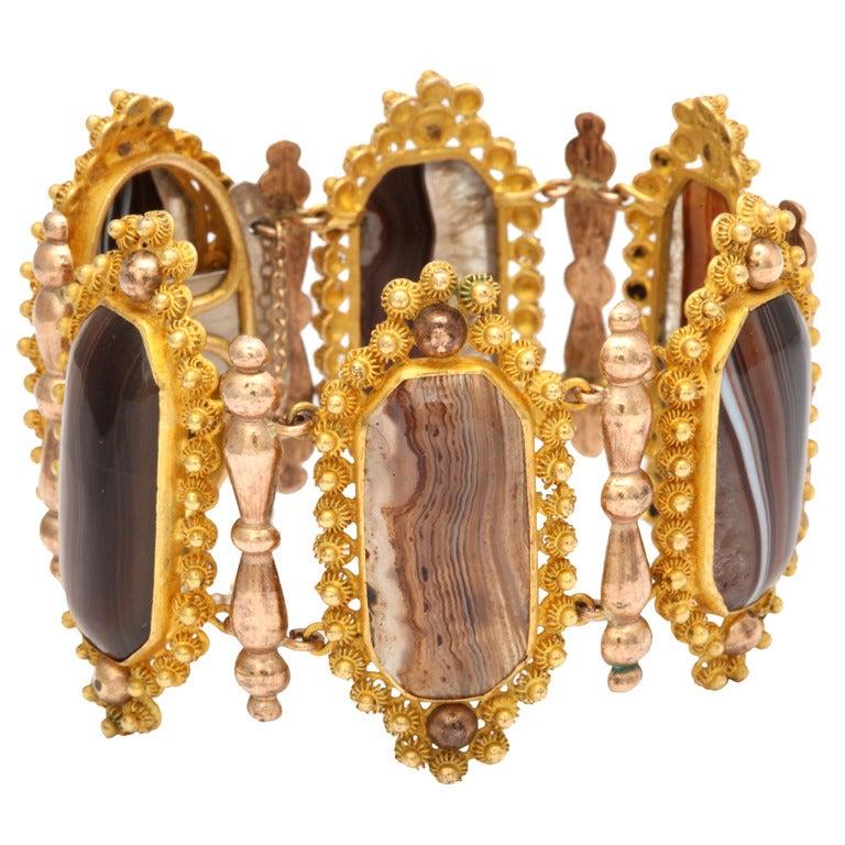 Georgian Wide  Banded Agate Pinchbeck Bracelet 4