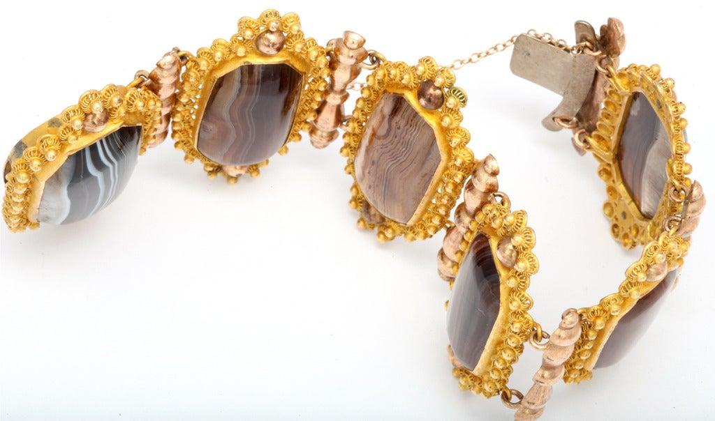 Georgian Wide  Banded Agate Pinchbeck Bracelet 5
