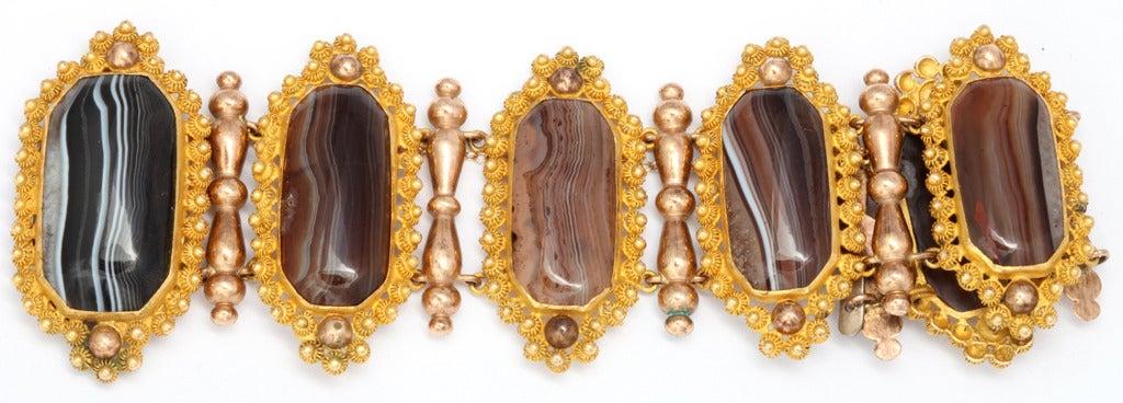 Georgian Wide  Banded Agate Pinchbeck Bracelet 6