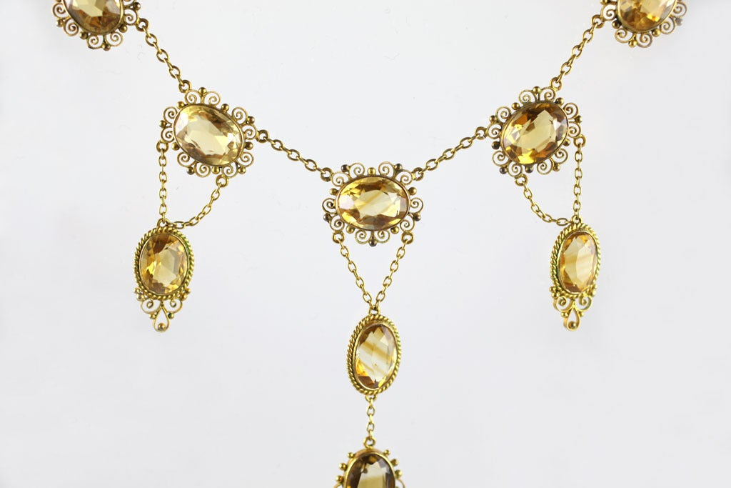 Sunny Georgian Period Citrine Necklace  In Excellent Condition For Sale In Hastings on Hudson, NY