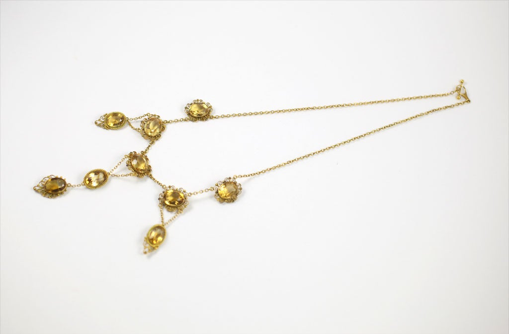 Women's Sunny Georgian Period Citrine Necklace  For Sale