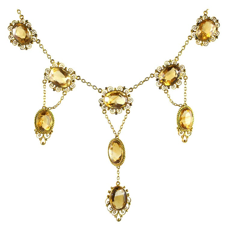 Sunny Georgian Period Citrine Necklace  For Sale