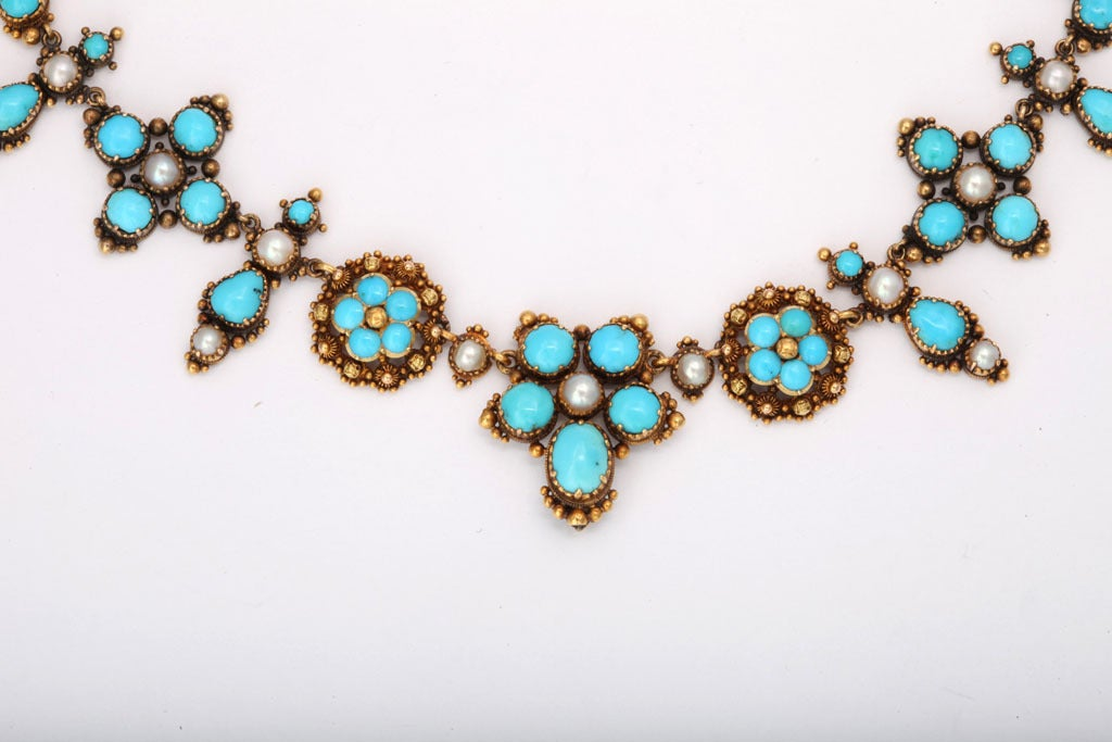 An Antique Victorian Natural Pearl Turquoise Necklace In Excellent Condition For Sale In Stamford, CT