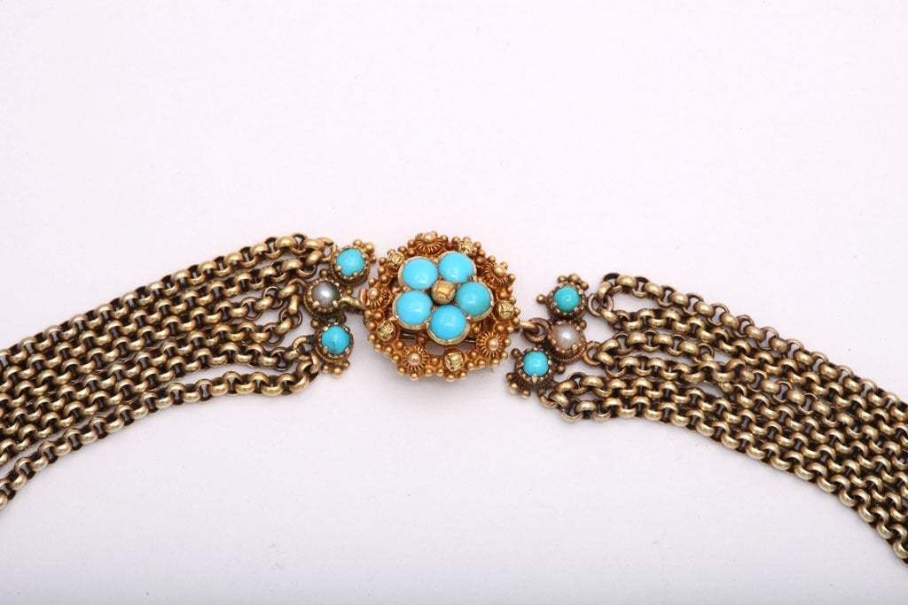 Women's An Antique Victorian Natural Pearl Turquoise Necklace For Sale