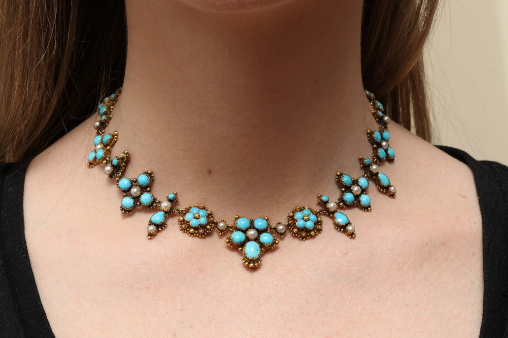 An Antique Victorian Natural Pearl Turquoise Necklace For Sale 2