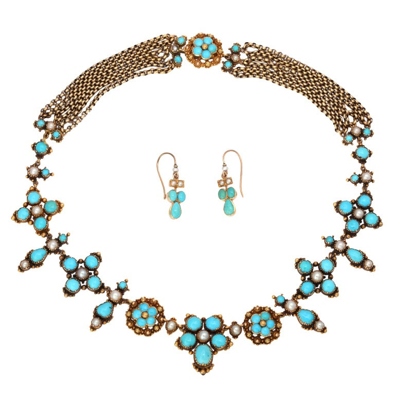 An Antique Victorian Natural Pearl Turquoise Necklace For Sale