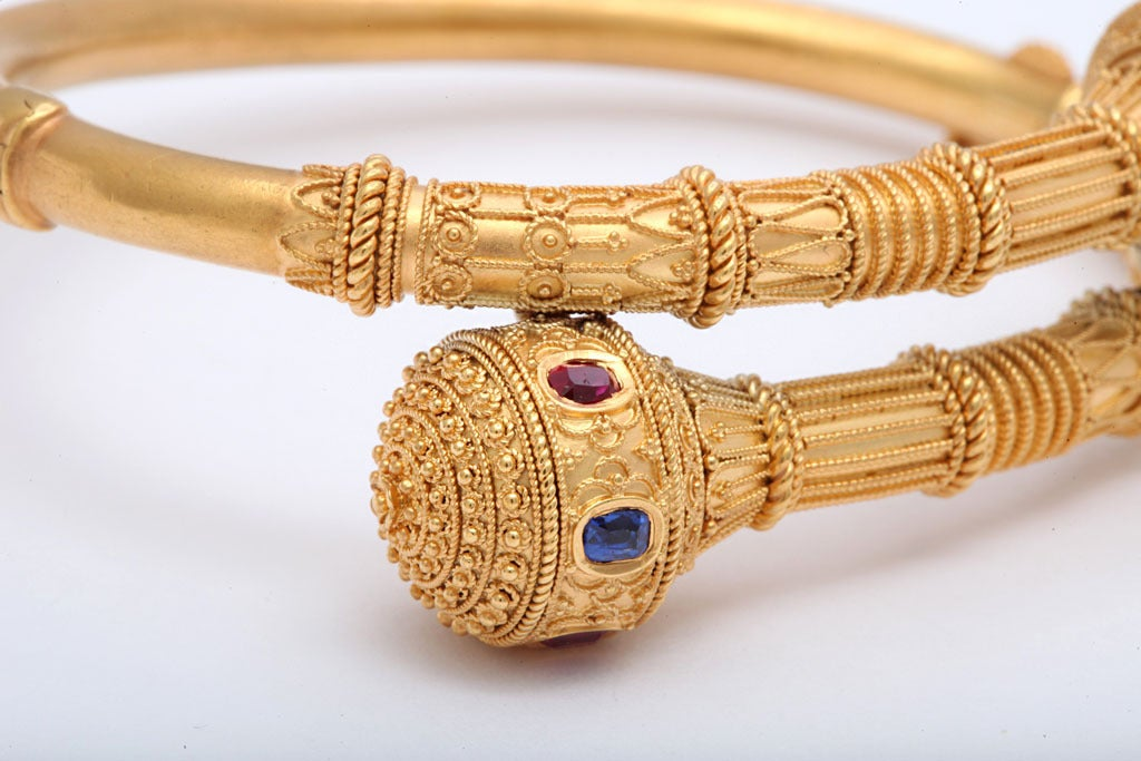 Victorian Gem Set Granulated Gold Etruscan Revival Bracelet In Excellent Condition For Sale In Hastings on Hudson, NY