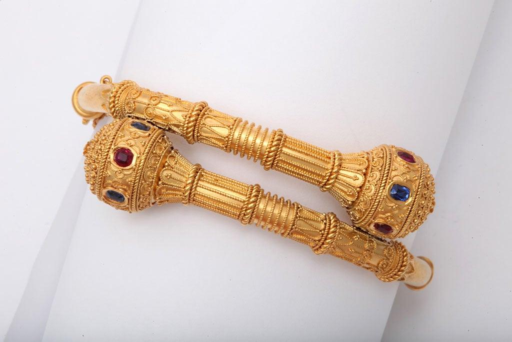 Victorian Gem Set Granulated Gold Etruscan Revival Bracelet For Sale 1
