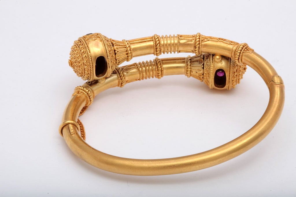 Victorian Gem Set Granulated Gold Etruscan Revival Bracelet For Sale 2