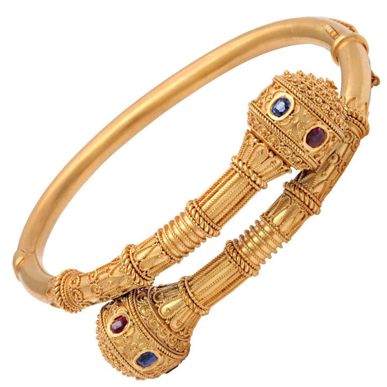 Victorian Gem Set Granulated Gold Etruscan Revival Bracelet For Sale
