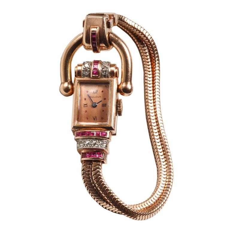Lady S Rose Gold Diamond And Ruby Retro Bracelet Watch