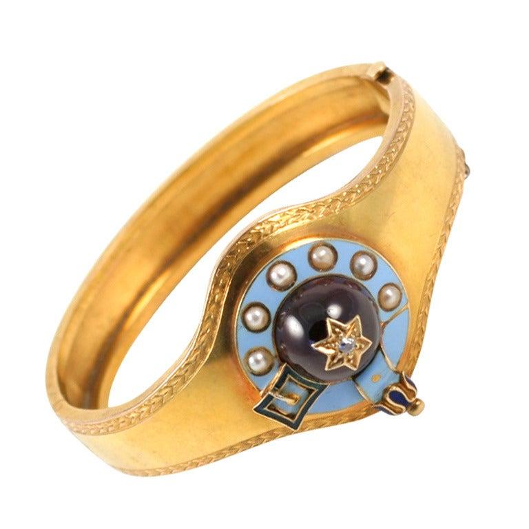 Victorian Enamel Garnet Pearl Garter Gold Bangle