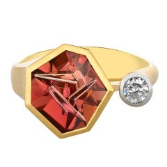 Munsteiner Pink Tourmaline Diamond Ring