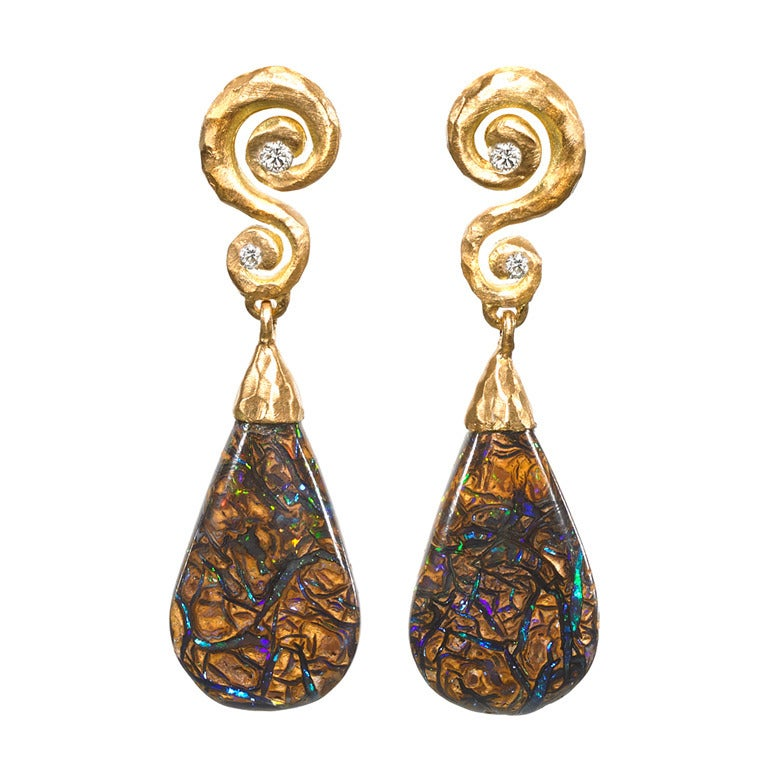 Pamela Froman One of a Kind Neon Flash Opal Diamond Hammered Gold Earrings For Sale