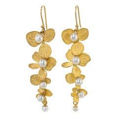 John Iversen Pearl Gold Hydrangea Drop Earrings