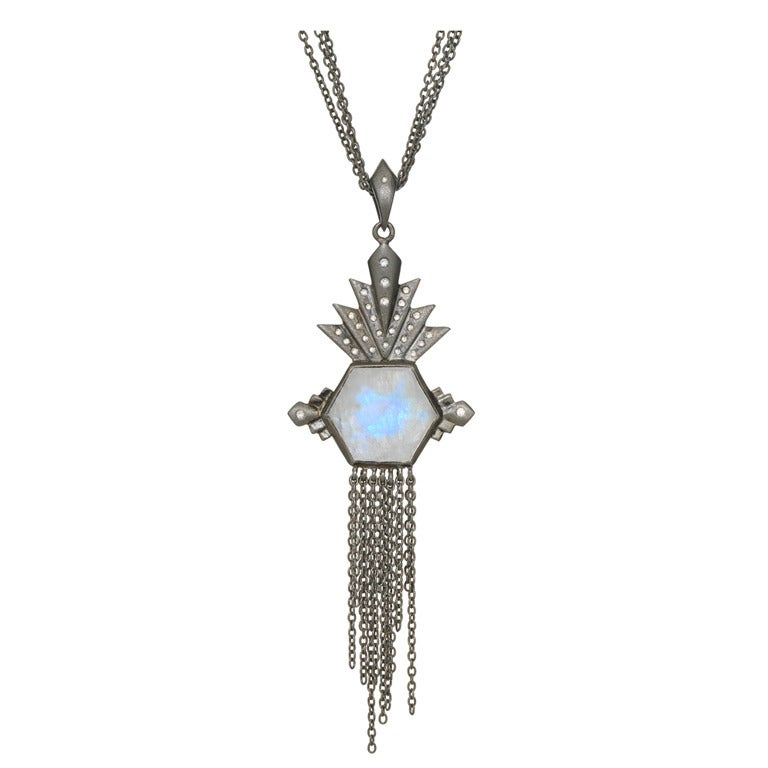 Aztec Moonstone And Diamond Necklace At 1stdibs