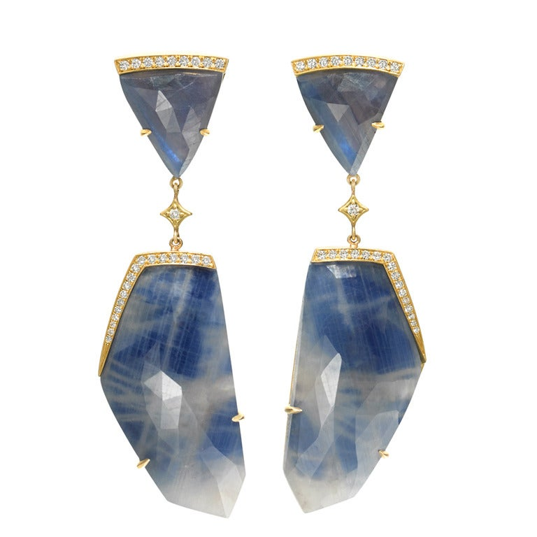 Anahita One of a Kind Faceted Blue Sapphire Diamond Gold Dangle Drop Earrings