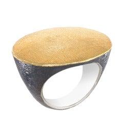 John Iversen Handmade Matte Gold Oxidized Silver Flat Top Ring