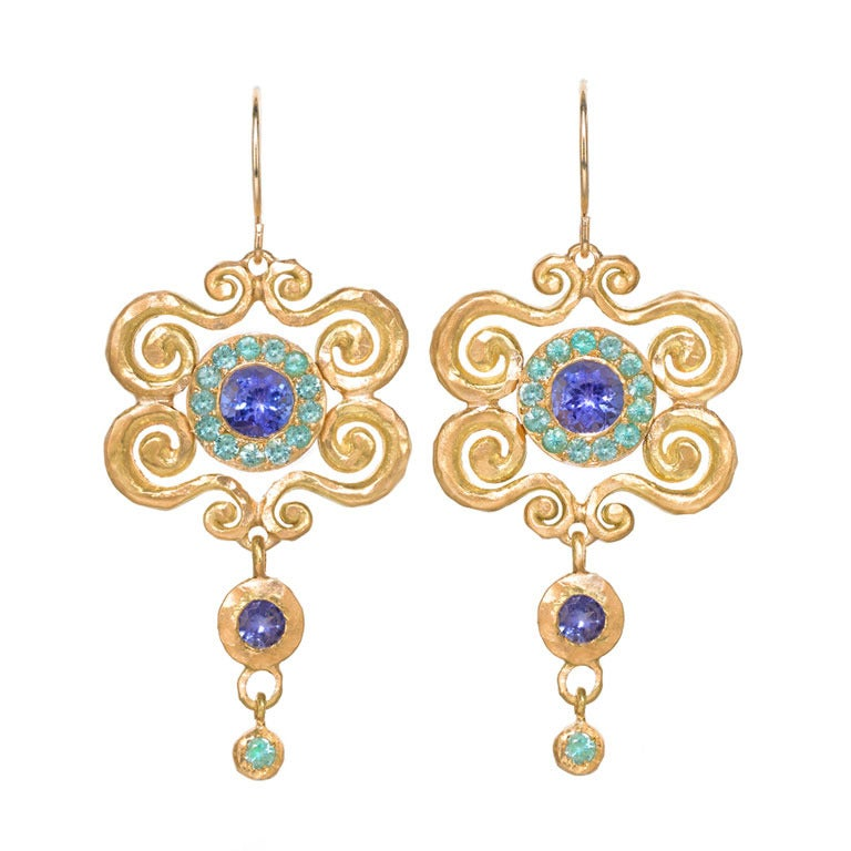 paraiba tanzanite arabesque dangle earrings at 1stdibs. Black Bedroom Furniture Sets. Home Design Ideas