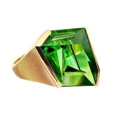 Munsteiner Green Tourmaline Abstract Ring