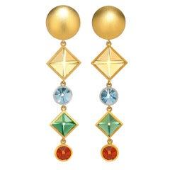 Munsteiner Multicolored Gold Platinum Earrings
