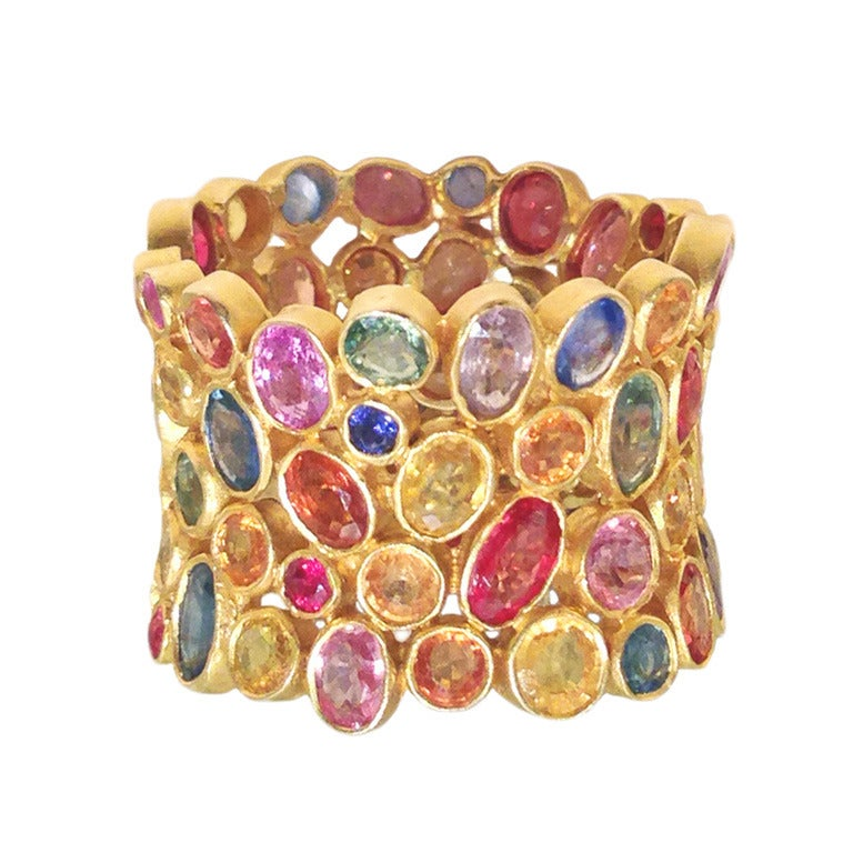 Lauren Harper Multicolored Rose Cut Sapphire Matte Gold Celebration Ring