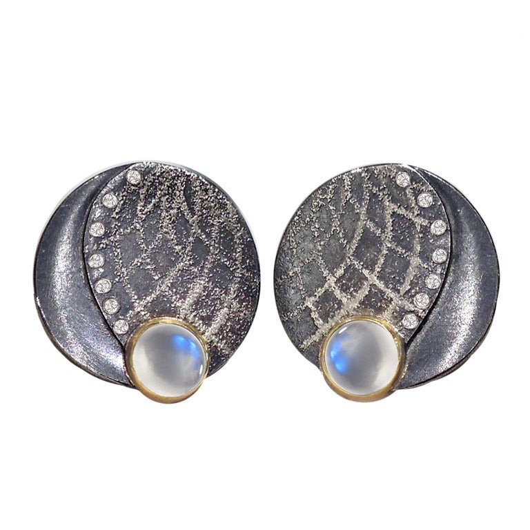 Atelier Zobel Blue Moonstone Diamond Bubble Earrings at ...
