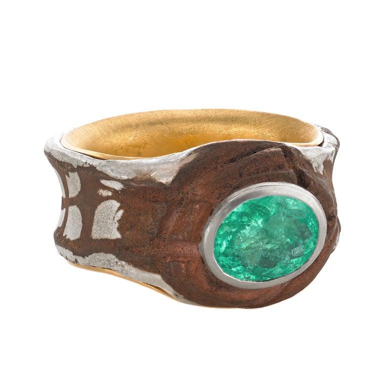 mozambique paraiba silver gold copper mokumegane ring at