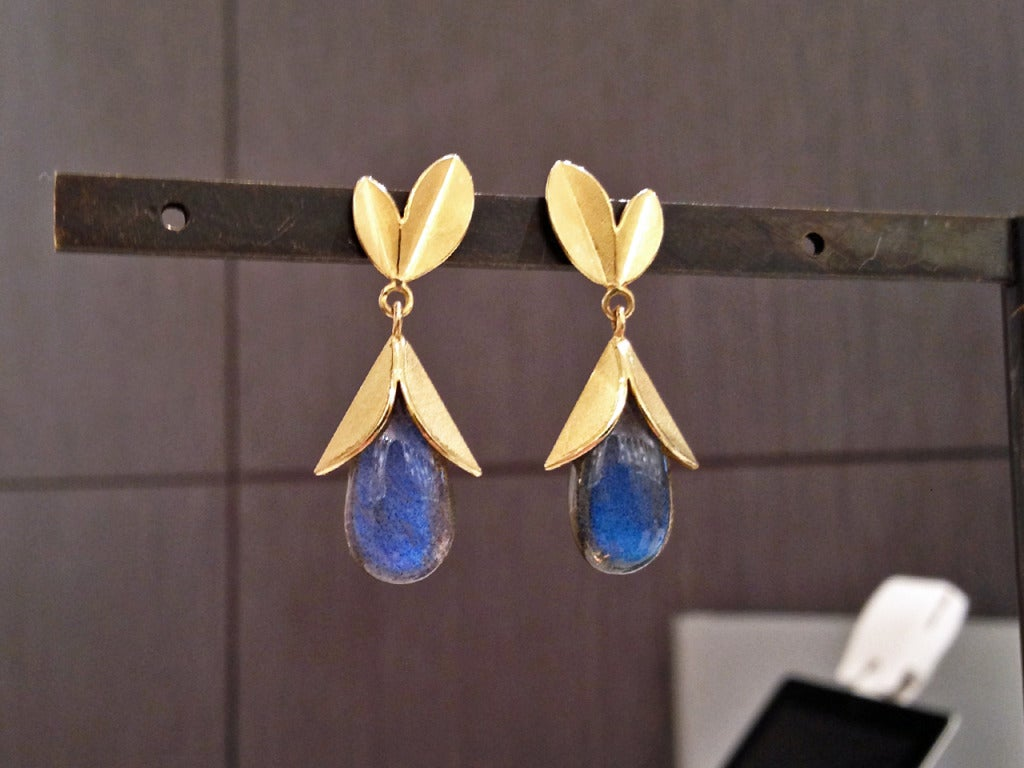 Labradorite Gold Tulip Cap Earrings 2