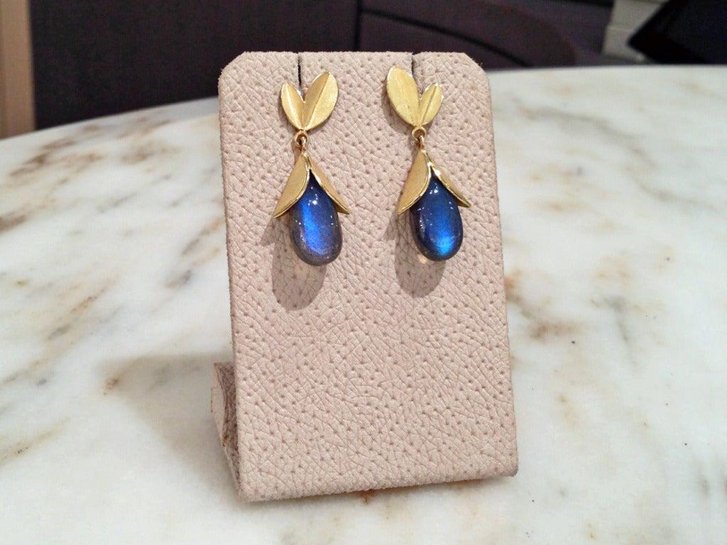 Labradorite Gold Tulip Cap Earrings 3
