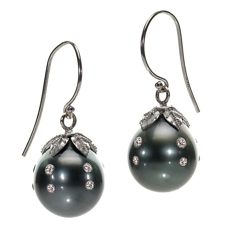 trusso tahitian pearl drop earrings at 1stdibs