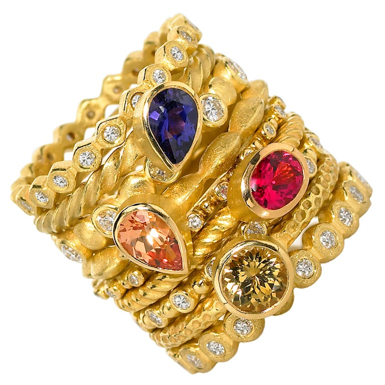 Assorted Gemstone Diamond Matte Gold Stacking Rings For Sale At 1stdibs