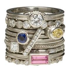 Barbara Heinrich Assorted Gemstone Platinum Stacking Rings
