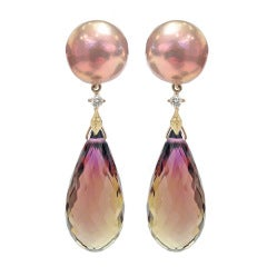 Trusso Faceted Ametrine Drop Maurasaki Pearl White Diamond Dangle Earrings