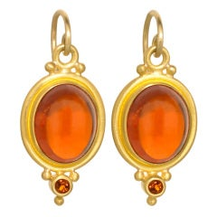 Gorgeous Spessartite Garnet and Madeira Citrine Earrings