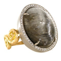 Platinum-Rutilated Quartz and Diamond Ring