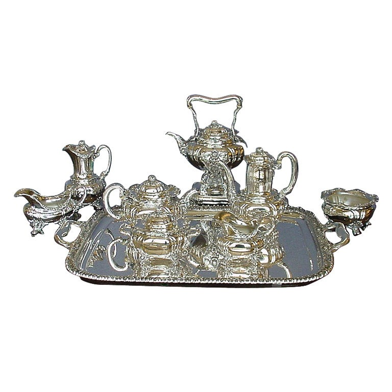 Chrysanthemum Tiffany Sterling Silver 9pc Tea Set Tray And
