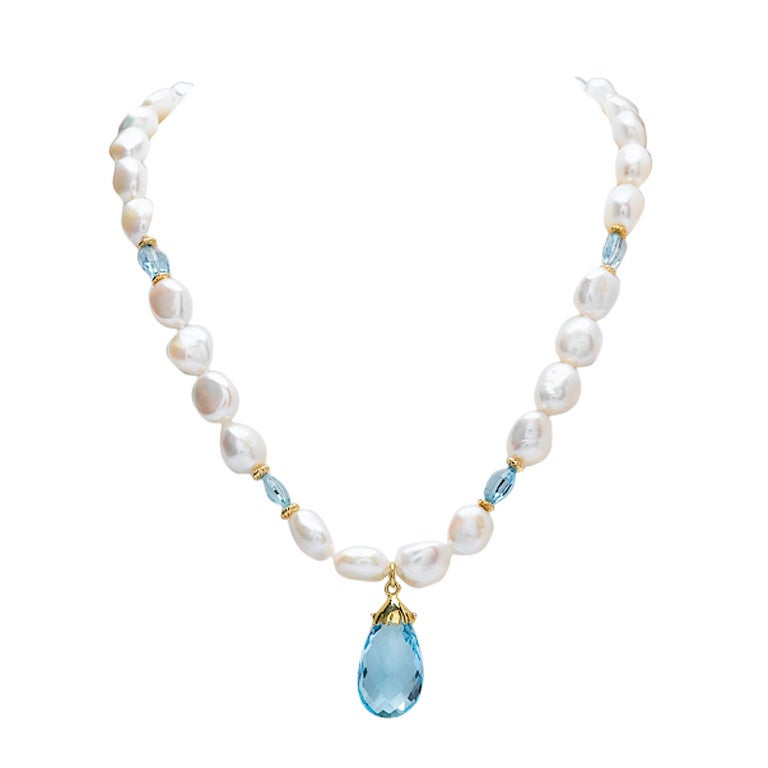 Blue Topaz And Pearl Necklace: Freswater Pearl And Blue Topaz Necklace At 1stdibs