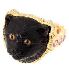 Jet Black Cat Ring