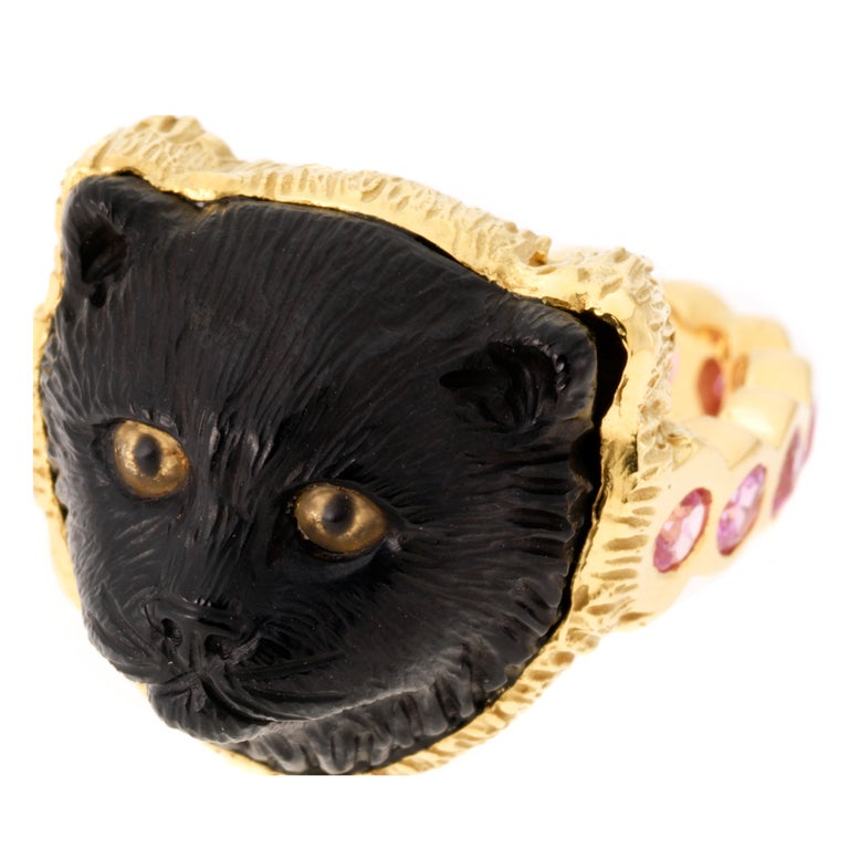 Jet Black Cat Ring For Sale