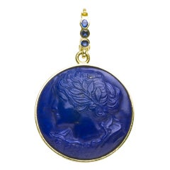 Romantic Portrait of a Lady Pendant of Lapis and Gold