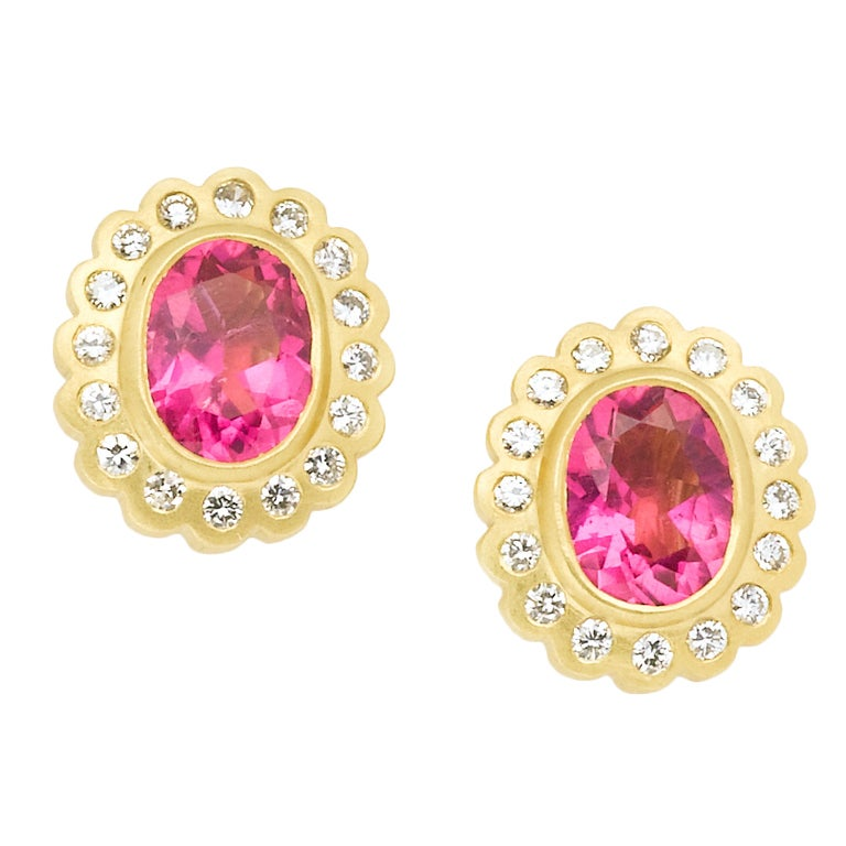 Eternally Yours Pink Tourmaline Earrings For Sale