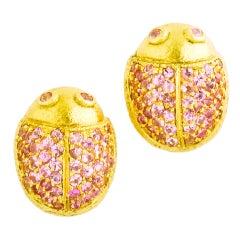 Pink Sapphire Ladybug Earrings