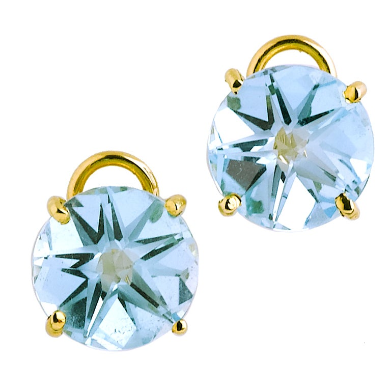 Star Cut Topaz Gold Earrings