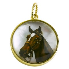 Painted Horse Head Pendant