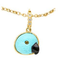 Turquoise Onyx Diamond Gold Parrot Pendant