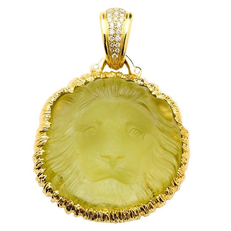 Reversible Citrine Gold Lion and Sun Pendant