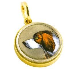 Antique Silver Gold Dog Pendant